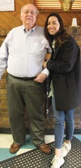 Aubrey Plaza (right) with Larry Shaffer, who led her childhood 4-H chapter in Wilmington.