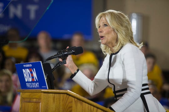 Dr. Jill Biden speaks before her husband Joe Biden takes the stage for his first public speech since announcing his candidacy for president Monday afternoon at the Teamsters Temple No. 249 in Pittsburgh.