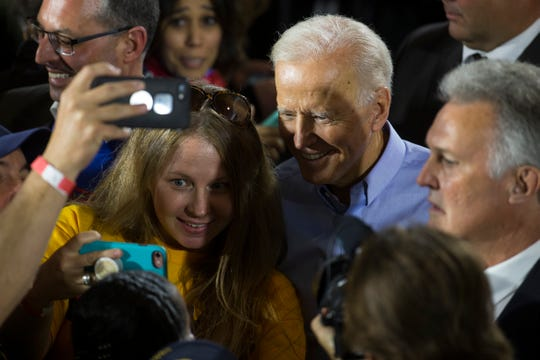 Former Vice President Joe Biden meets with supporters after his first public speech since announcing his candidacy for president Monday afternoon at the Teamsters Temple No. 249 in Pittsburgh.