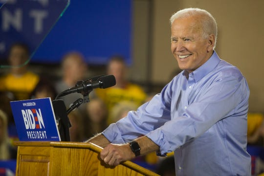 Former Vice President Joe Biden speaks during his first public speech since announcing his candidacy for president Monday, April 29 at the Teamsters Temple No. 249 in Pittsburgh.