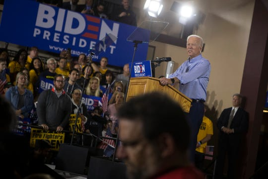 Joe Biden speaks during his first public speech since announcing his candidacy for president April 29 at the Teamsters Temple No. 249 in Pittsburgh.