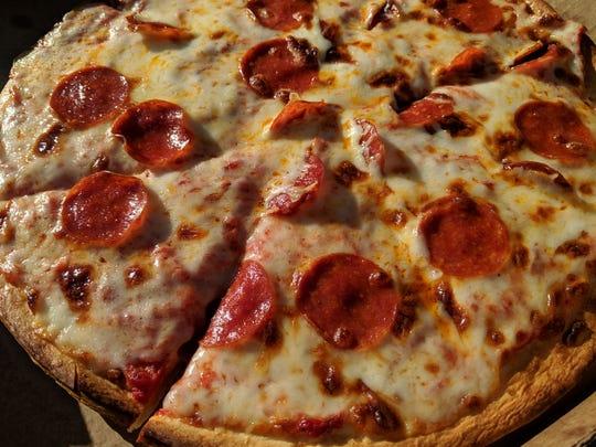 A pizza from Joe's Kwik Stop in Windthorst.