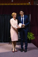 MSU Texas President Suzanne Shipley celebrates with Hardin Scholar Salvatore Capotosto, recognized at the 2019 honors banquet held April 26, 2019.