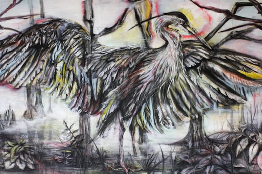 """Bailey Pitzer's """"Stalled Flight,"""" focuses on the Great Blue Heron. She is exhibiting with four other seniors as part of the Spring 2019 MSU Senior Exhibition and Student Show that opens from 6 to 8 p.m. today and runs through July 25 at the Juanita Harvey Art Gallery, Foyer Gallery and Pit Gallery at MSU."""