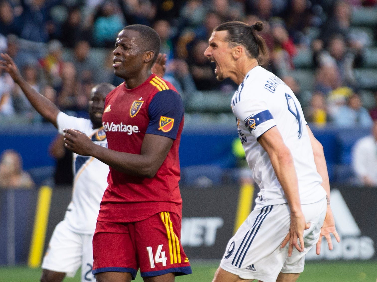 April 28: LA Galaxy forward Zlatan Ibrahimovic reacts after scoring a goal during the second half against Real Salt Lake at Dignity Health Sports Park. The Galaxy won, 2-1.