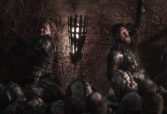 Brienne of Tarth (Gwendoline Christie), left, and Jaime Lannister (Nikolaj Coster-Waldau) have their backs to the wall literally in Sunday's battle with the Night King's forces.