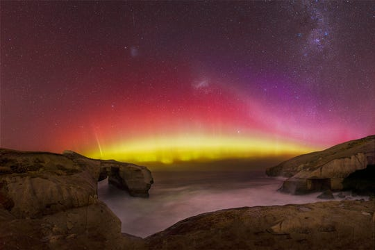 The southern lights on the South Island of New Zealand.