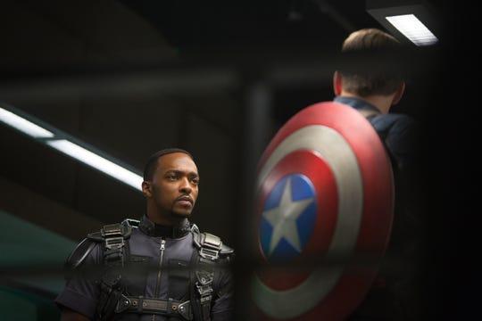 """Sam Wilson (Anthony Mackie, left), seen here in """"Captain America: The Winter Soldier,"""" ended """"Avengers: Endgame"""" having inherited Captain America's shield from Steve Rogers (Chris Evans)."""