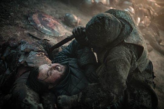 A wight tries to kill Samwell Tarly (John Bradley), left, in Sunday's episode of 'Game of Thrones.'