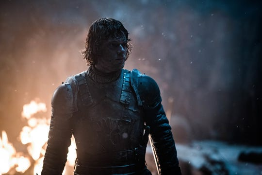 Theon Greyjoy (Alfie Allen) does his best to protect Three-Eyed Raven Bran on Sunday's 'Game of Thrones.'