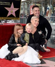 Pink, center, with husband Carey Hart, daughter Willow Sage Hart and son Jameson Moon Hart at the singer's Hollywood Walk of Fame ceremony in February in Hollywood, California.