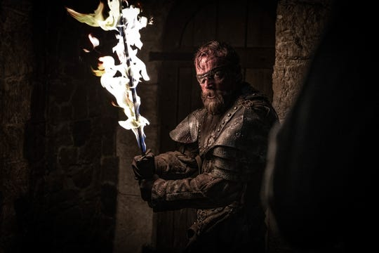 Beric Dondarrion (Richard Dormer) and his flaming sword go into battle at Winterfell, but resurrection may not be an option this time.