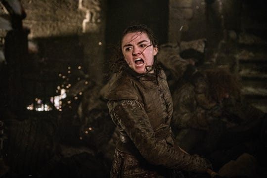 "Arya Stark (Maisie Williams) and her ""Game of Thrones"" fighting style were big influences for pop star Taylor Swift."