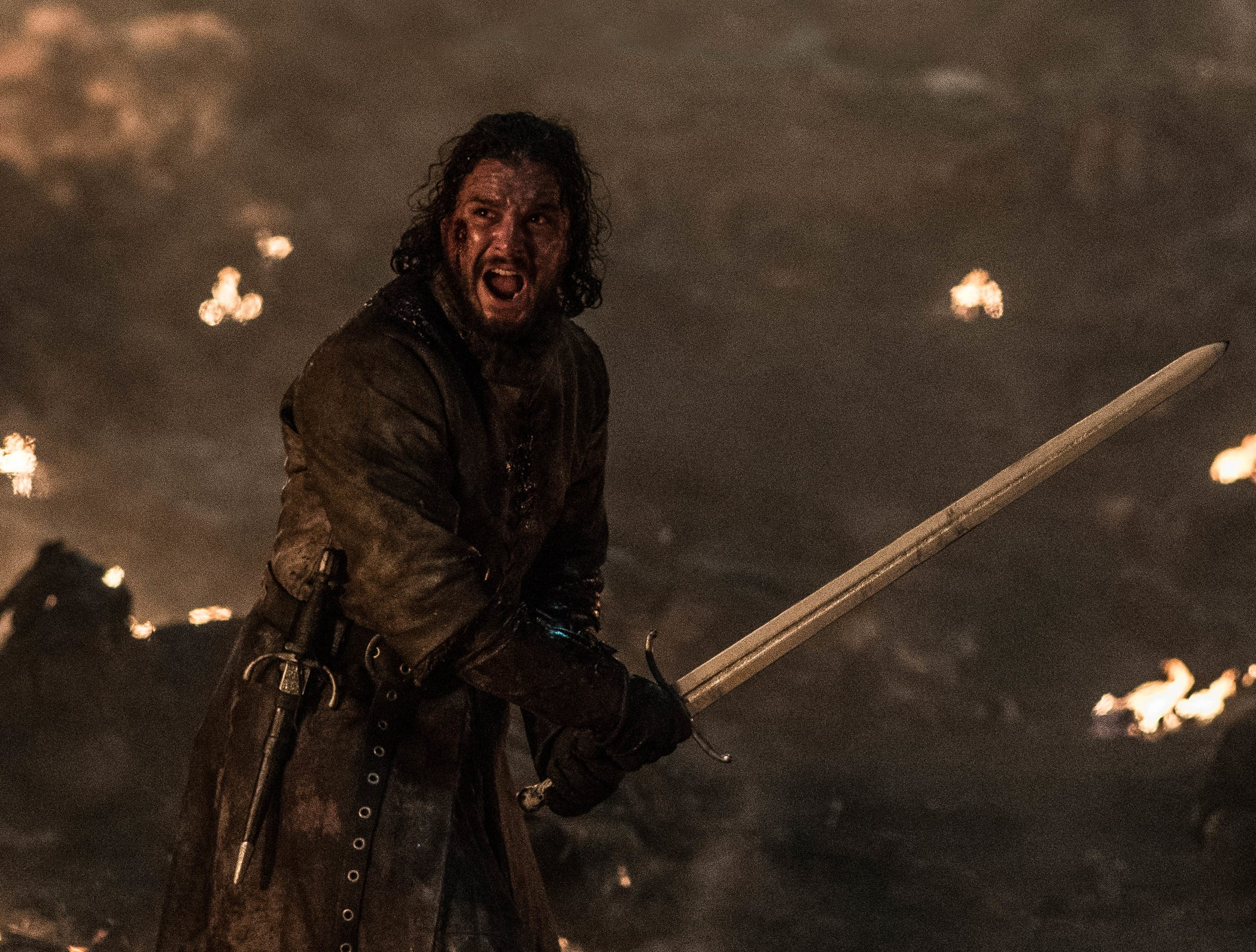Jon Snow (Kit Harington) is in the middle of battle in Sunday's 'Game of Thrones.'