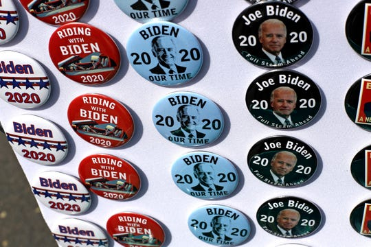 Campaign buttons on sale at Joe Biden's appearance at a union hall in Pittsburgh on April 29, 2019.