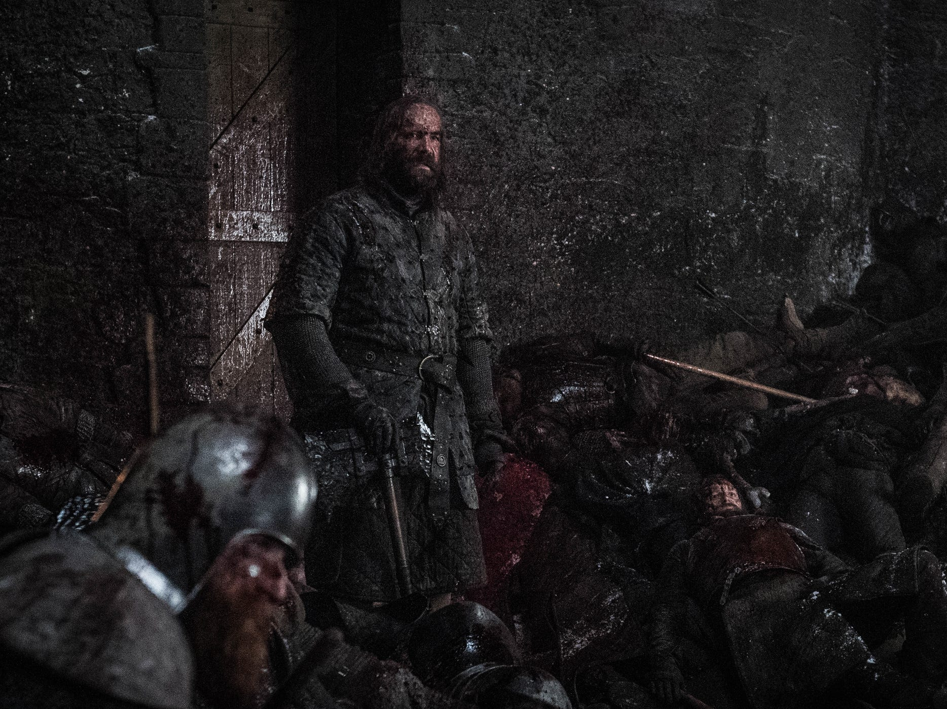 Sandor 'The Hound' Clegane (Rory McCann), standing, is briefly overwhelmed by the Night King's onslaught in Sunday's episode of 'Game of Thrones.'