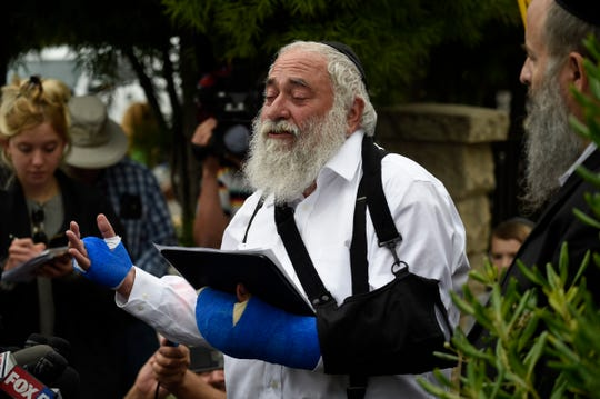 Rabbi Yisroel Goldstein at the Chabad of Poway synagogue near San Diego on April 28, 2019.