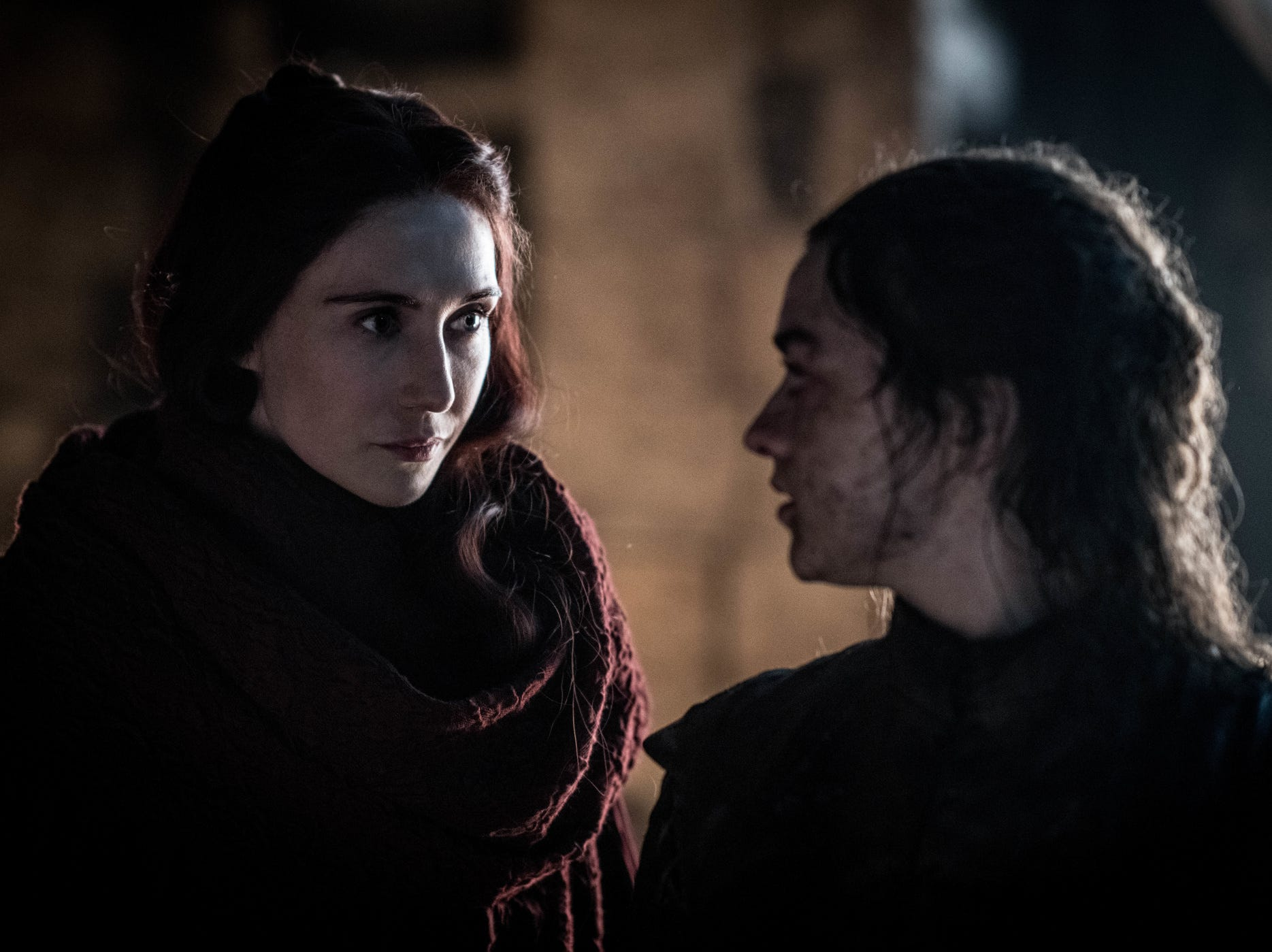 Melisandre (Carice van Houten), left, and Arya (Maisie Williams) have a very productive conversation in the middle of a wight onslaught during Sunday's 'Game of Thrones.'
