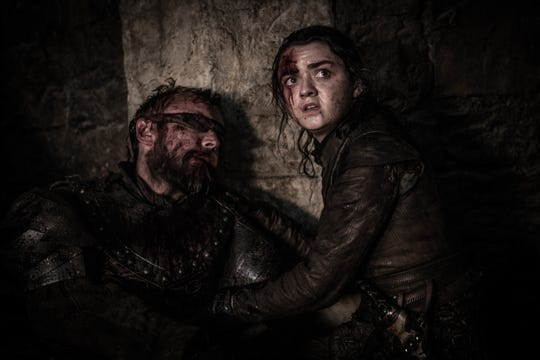 Arya Stark (Maisie Williams), right, can't do anything to save Beric Dondarrion (Richard Dormer) in 'The Long Night' episode of 'Game of Thrones.'