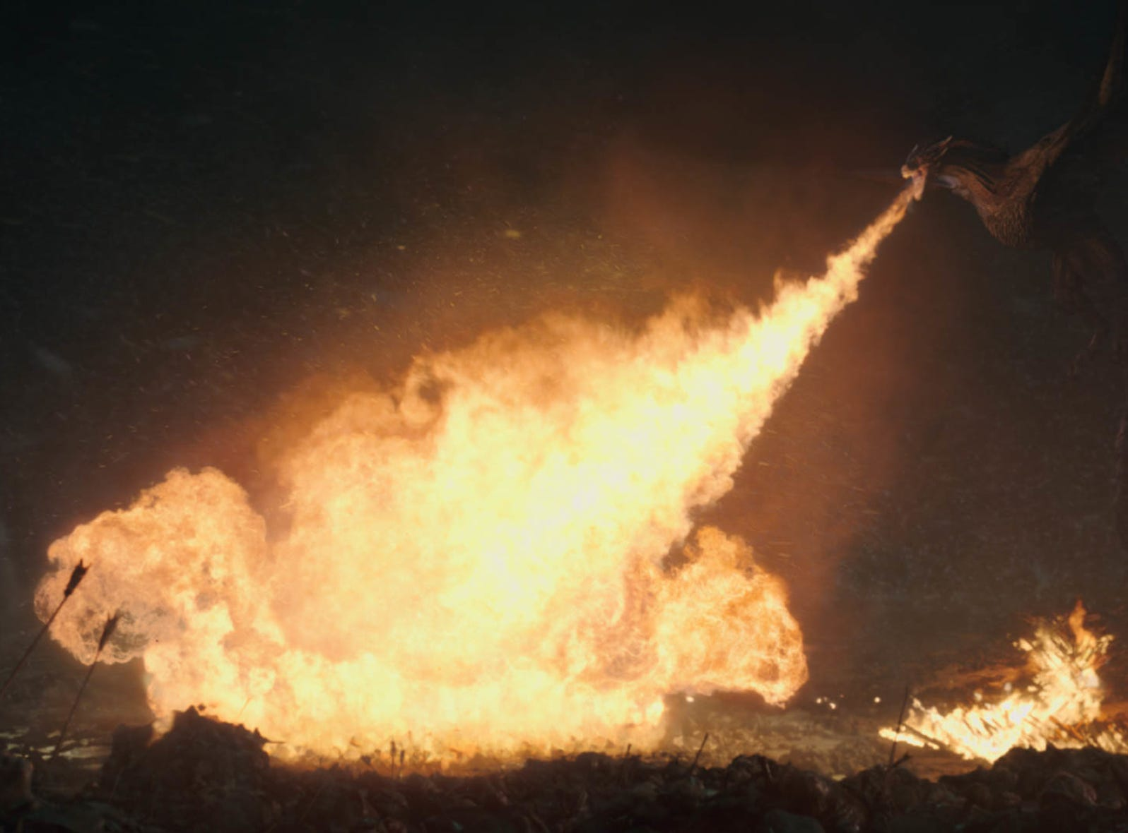 One of the two dragons still under Dany's control lays waste to wights in Sunday's episode of 'Game of Thrones.'