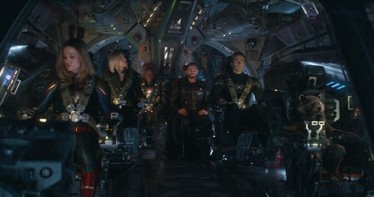 "Coming to the soon-to-be-launched Disney+ new streaming service on Dec. 11: ""Avengers: Endgame"" with Captain Marvel (Brie Larson, far left), Black Widow (Scarlett Johansson), War Machine (Don Cheadle), Thor (Chris Hemsworth), Captain America (Chris Evans) and Rocket (voiced by Bradley Cooper)."