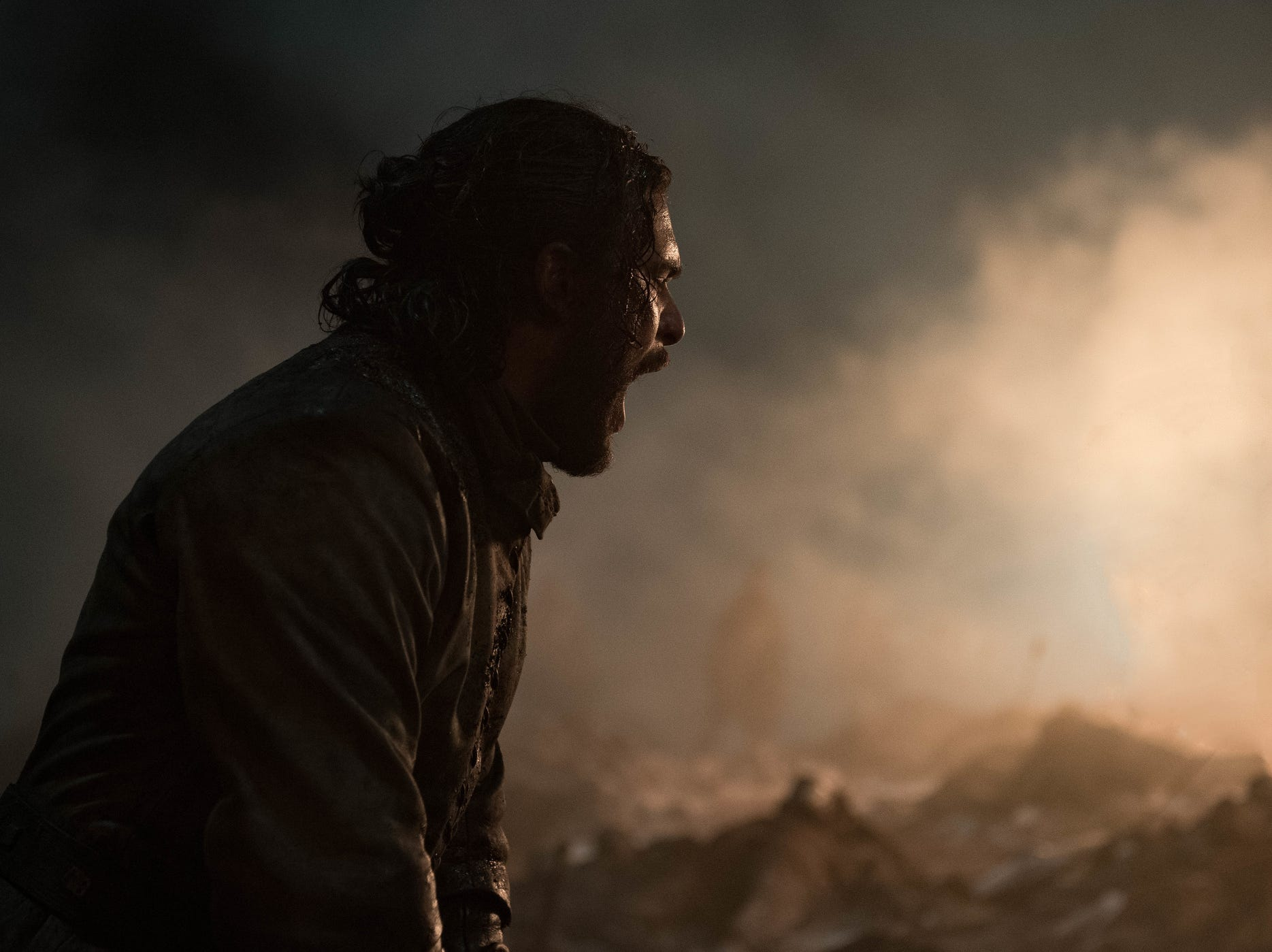 Jon Snow (Kit Harington) lets out a scream during the epic battle with the Night King's forces on Sunday's 'Game of Thrones.'