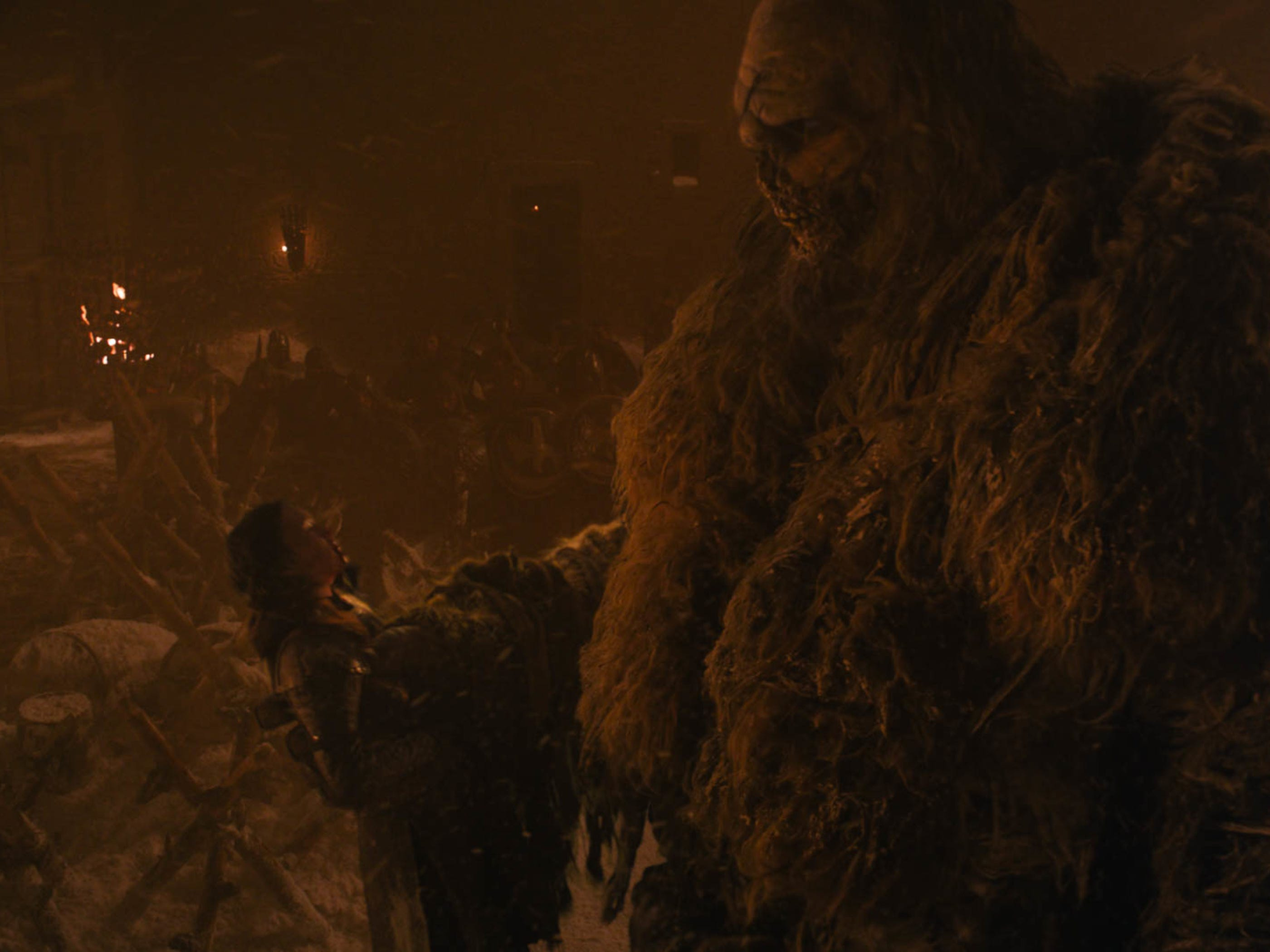 The wight giant thinks he has Lyanna Mormont (Bella Ramsey), left, but does he?