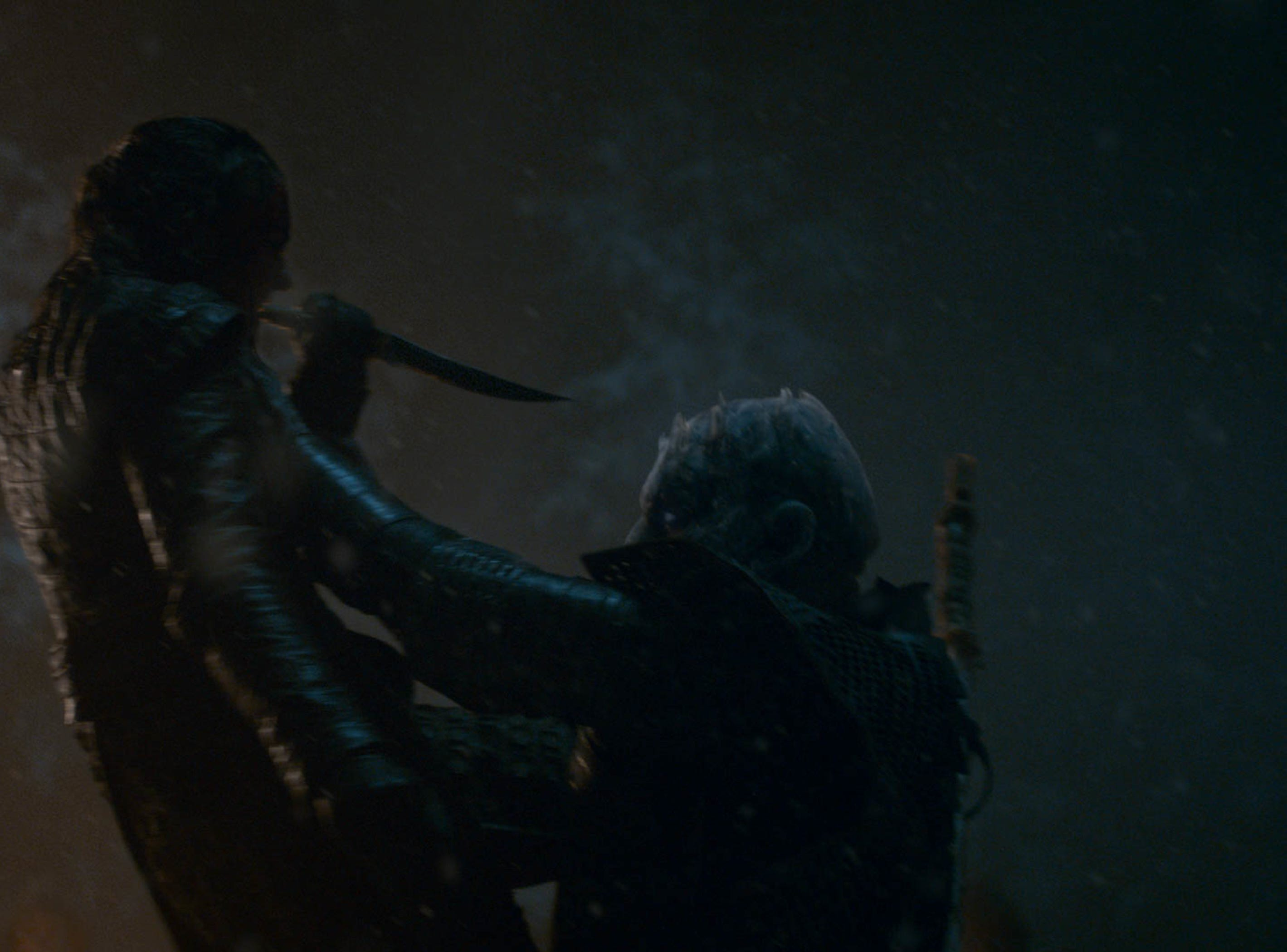 Arya Stark (Maisie Williams), left, makes the acquaintance of The Night King (Vladimir Furdik) in a pivotal scene from 'The Long Night' episode of 'Game of Thrones.'