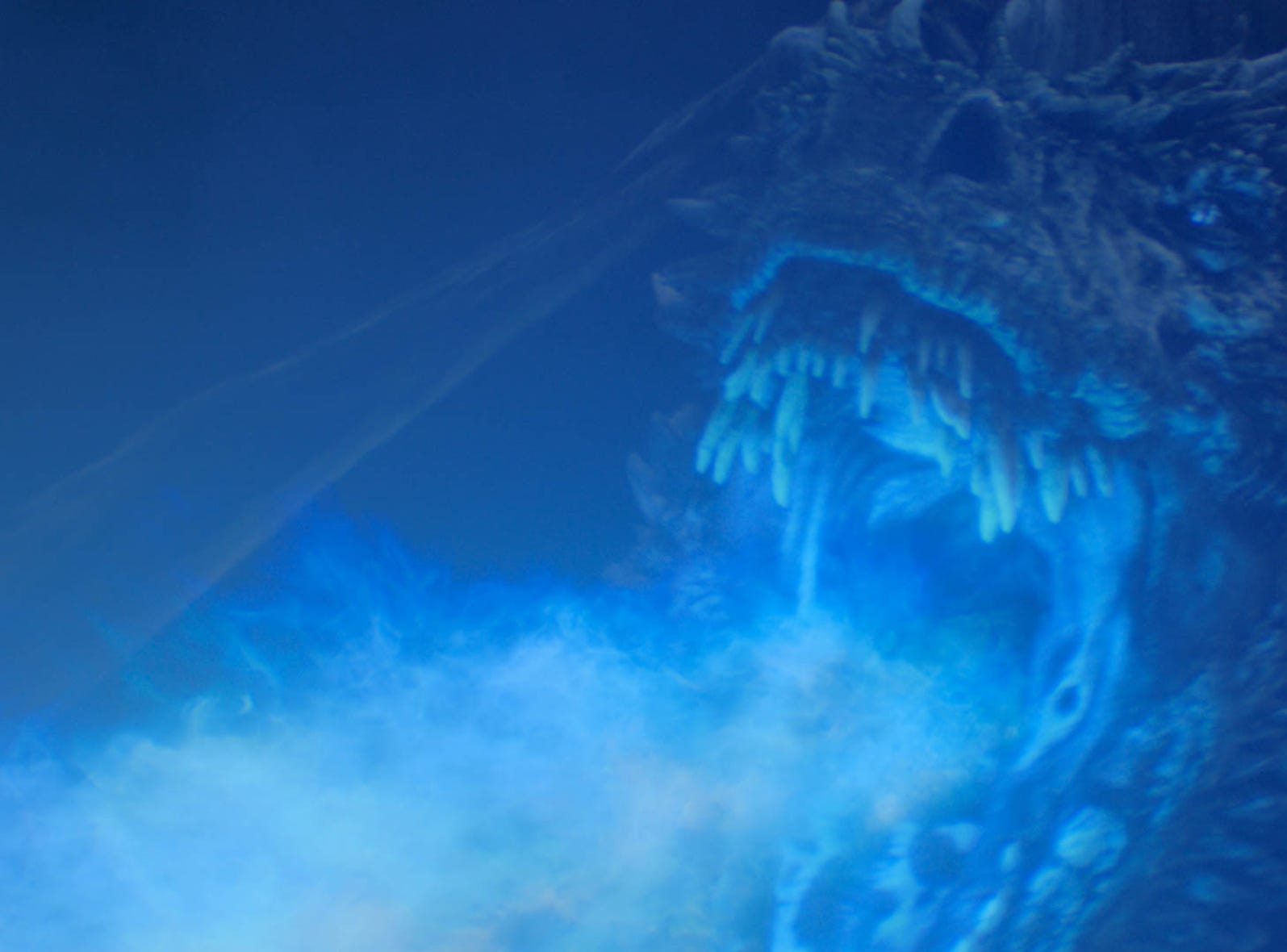 The dragon revived by the Night King delivers a signature blue-flame greeting during Sunday's episode of 'Game of Thrones.'