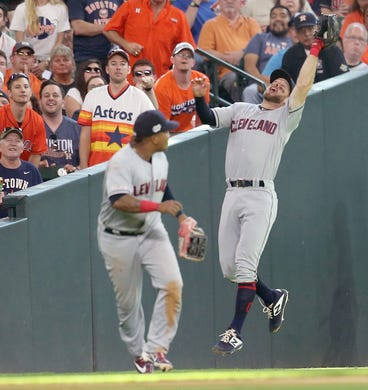 April 27: Cleveland Indians shortstop Mike Freeman (6) catches a fly ball hit by the Houston Astros' Alex Bregman in the eighth inning at Minute Maid Park. The Astros won the game, 4-3.