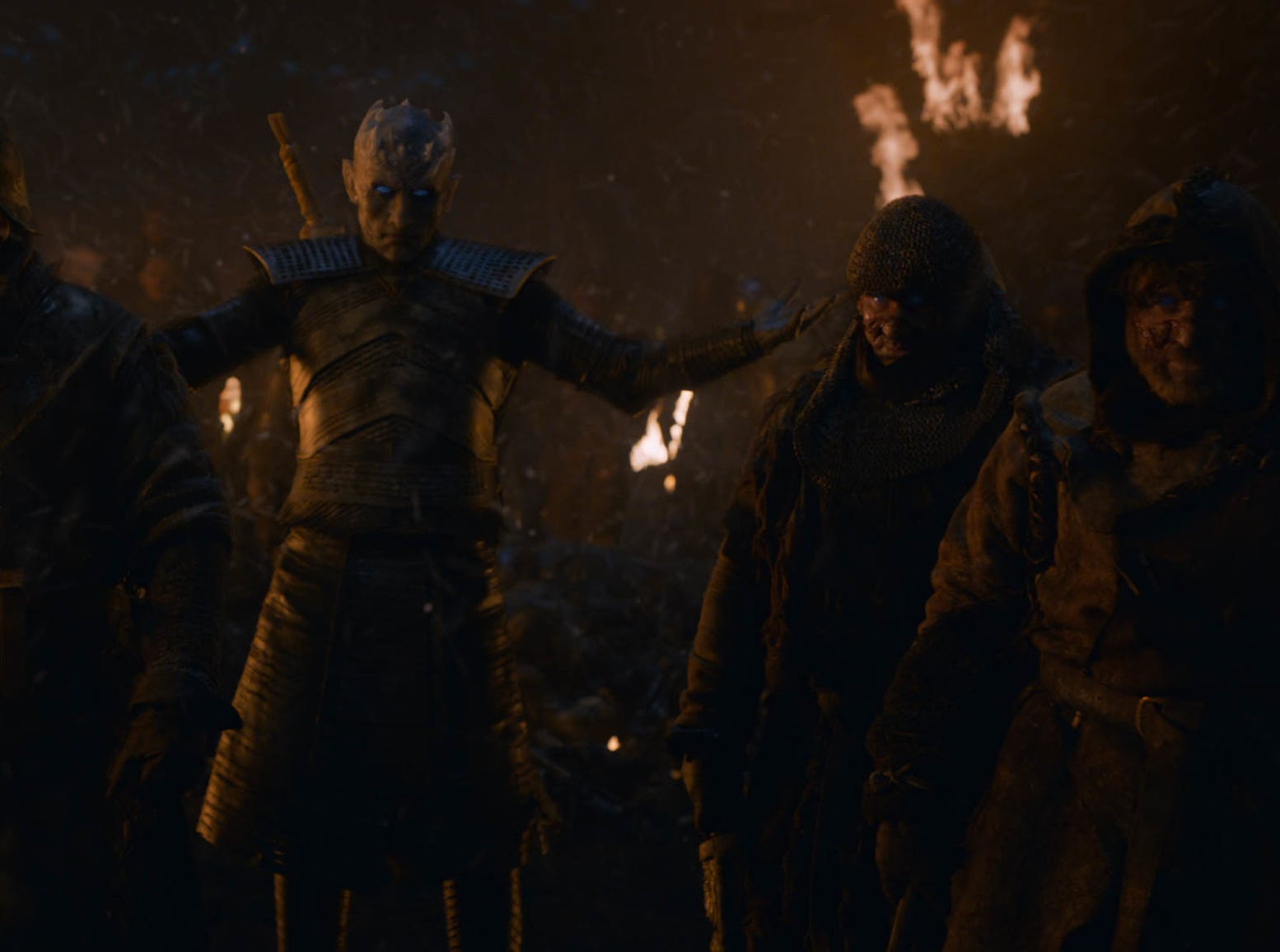 The Night King (Vladimir Furdik), center,raises his dead army on Sunday's episode of 'Game of Thrones.'