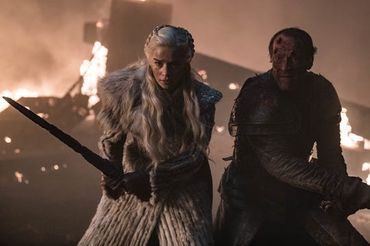 "Daenerys Targaryen (Emilia Clarke), left, and Jorah Mormont (Iain Glen) try to fend off the Night King's forces on an episode of ""Game of Thrones."""