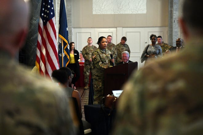 Katrina Lloyd is promoted to the rank of colonel in the Louisiana National Guard during a ceremony at the Hotel Bentley. Lloyd, and Alexandria native, is the second female African American to be promoted to this rank in LANG history.