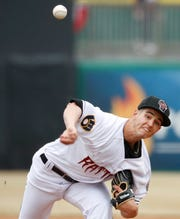 Wisconsin Timber Rattlers pitcher Max Lazar throws against the Cedar Rapids Kernels on April 6 at Neuroscience Group Field at Fox Cites Stadium in Grand Chute.