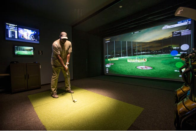 iPlay America celebrates the opening of their Topgolf Swing Suite in Freehold. The entertainment center features six simulator bays within a luxury lounge environment with multiple HDTV's and full food and beverage services. Former New York Giants Ottis Anderson and Stephen Baker help with the grand opening. Ottis Anderson explores the new facility.Freehold, NJTuesday, April 30, 2019