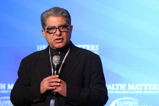 Deepak Chopra leads a guided meditation at the Health Matters 2013 conference at La Quinta Resort & Spa in La Quinta, Calif. on Tuesday, January 15, 2013.