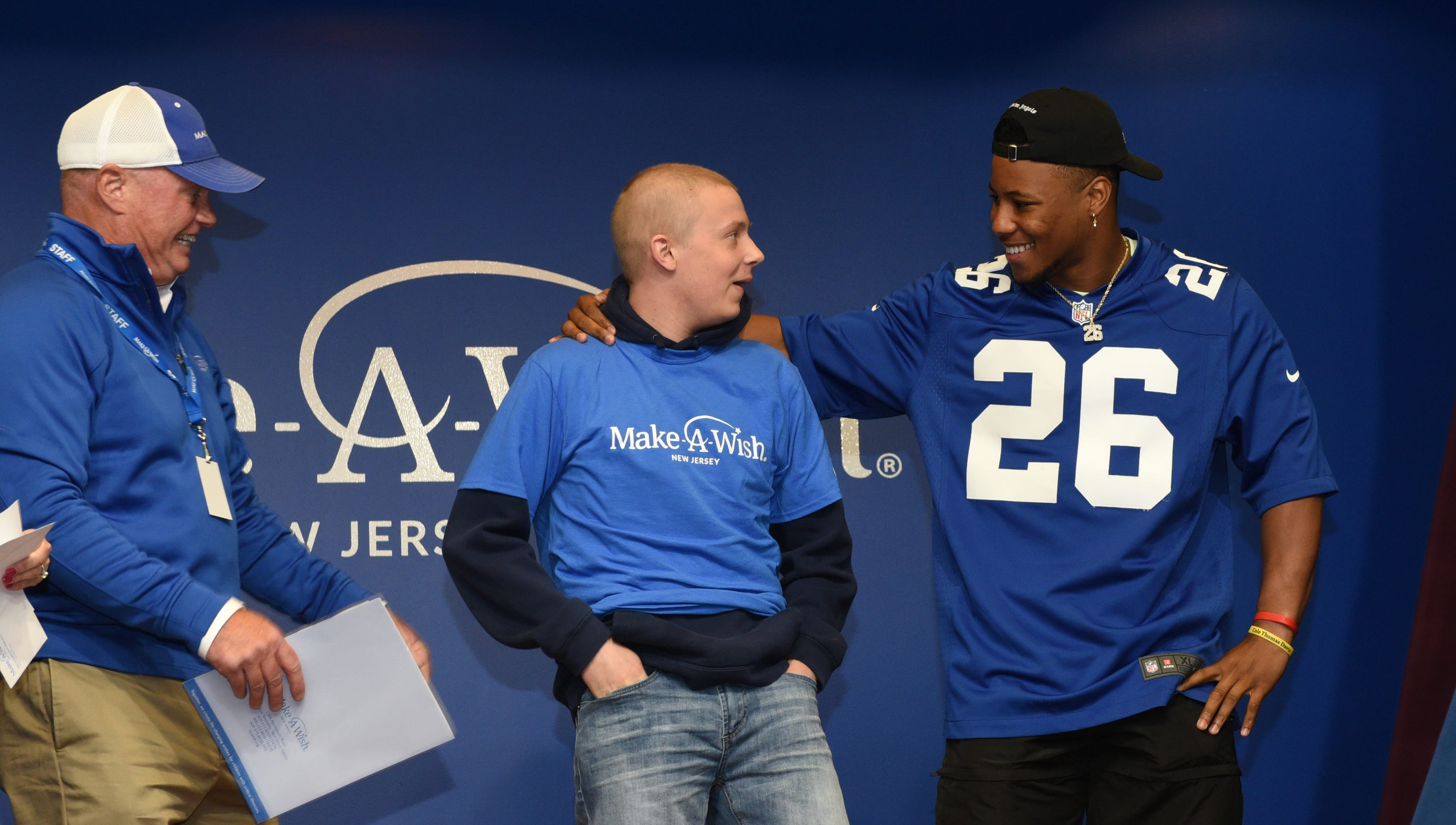 purchase cheap 6961b 794a1 NY Giants surprise: Saquon Barkley visit thrills Make-A-Wish ...