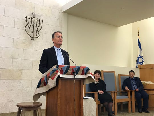 Bernd Wollschlaeger, a family physician from Florida, delivered the keynote address at a service marking Holocaust Remembrance Day.