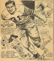 A cartoon of Ellis Jones ran in 1942 during his time at Tulsa. Jones was named an All-American and was drafted by the NFL's Boston Yanks.