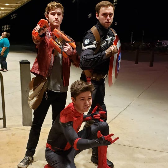 """Kaden Kerby, dressed a Star-Lord of the Guardians of the Galaxy, joined Jonathan Baker (Captain America) and Christian Jay (Spider-Man) in costume for a showing of """"Avengers: Endgame"""" at Cinemark Abilene Friday. The latest installment in the Marvel Cinematic Universe was the talk of the world this past weekend while earning a record $1.2 billion in its opening five days."""