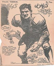 The 'Tulsa Terror' cartoon of Abilene High's Ellis Jones ran prior to the 1944 Sugar Bowl against Georgia Tech. Jones was an All-America selection and a 1945 NFL draft pick despite having his right arm amputated at age 11.