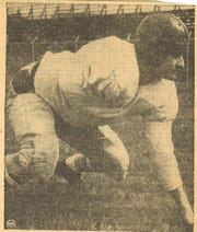 Abilene High graduate Ellis Jones lines up during an all-star game practice in 1945. Jones played in the 1944 and 45 all-star games and was an All-America selection during his time at Tulsa.