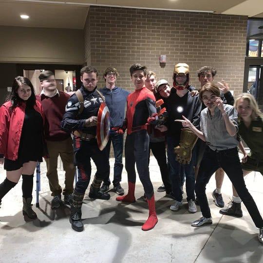 "A group of Marvel Cinematic Universe fans attended a Cinemark Abilene showing of ""Avengers: Endgame"" in costumes Friday night. From left are: Alyssa Ward, Caden Cartwright, Jonathan Baker, Peter Mayes, Christian Jay, Kaden Kerby, Matthew Connally, Brandon Heiser, Drew Kerestly, Grace Ramirez and Avery Pittman."