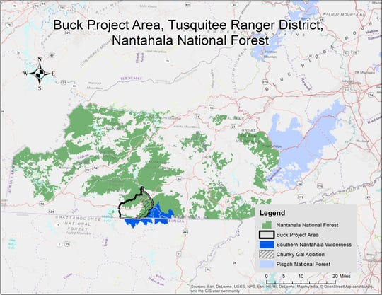The Buck Project includes a more than 20,000-acre area in the Nantahala National Fores, and includes one of the forest's largest-ever timber sales.