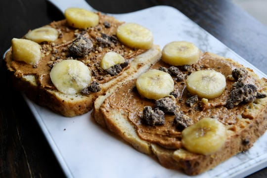 An order or toast with peanut butter and bananas from Vortex Doughnuts April 25, 2019.