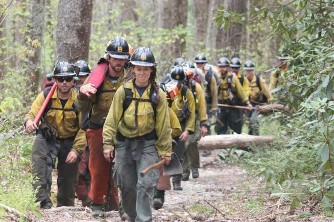 Asheville Interagency Hotshot Crew members worked to contain the Brushy Ridge Fire to 100% on April 29, 2019, in the Linville Gorge Wilderness.