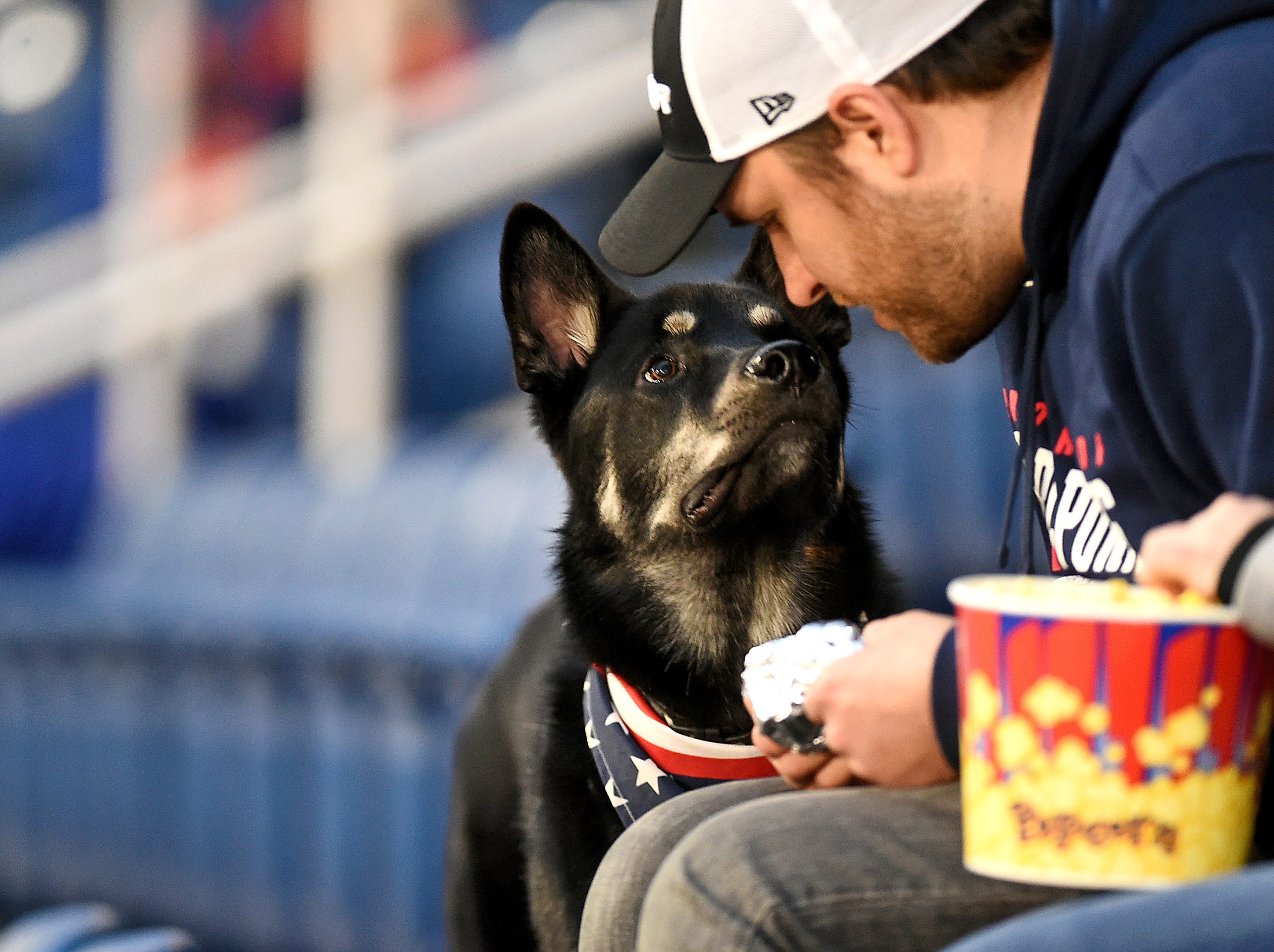 Tucker and his owner Eric Kubisa of Binghamton during Mutt Monday, presented by Animal Care Sanctuary, at the Binghamton Rumble Ponies game at NYSEG Stadium, April 29, 2019.