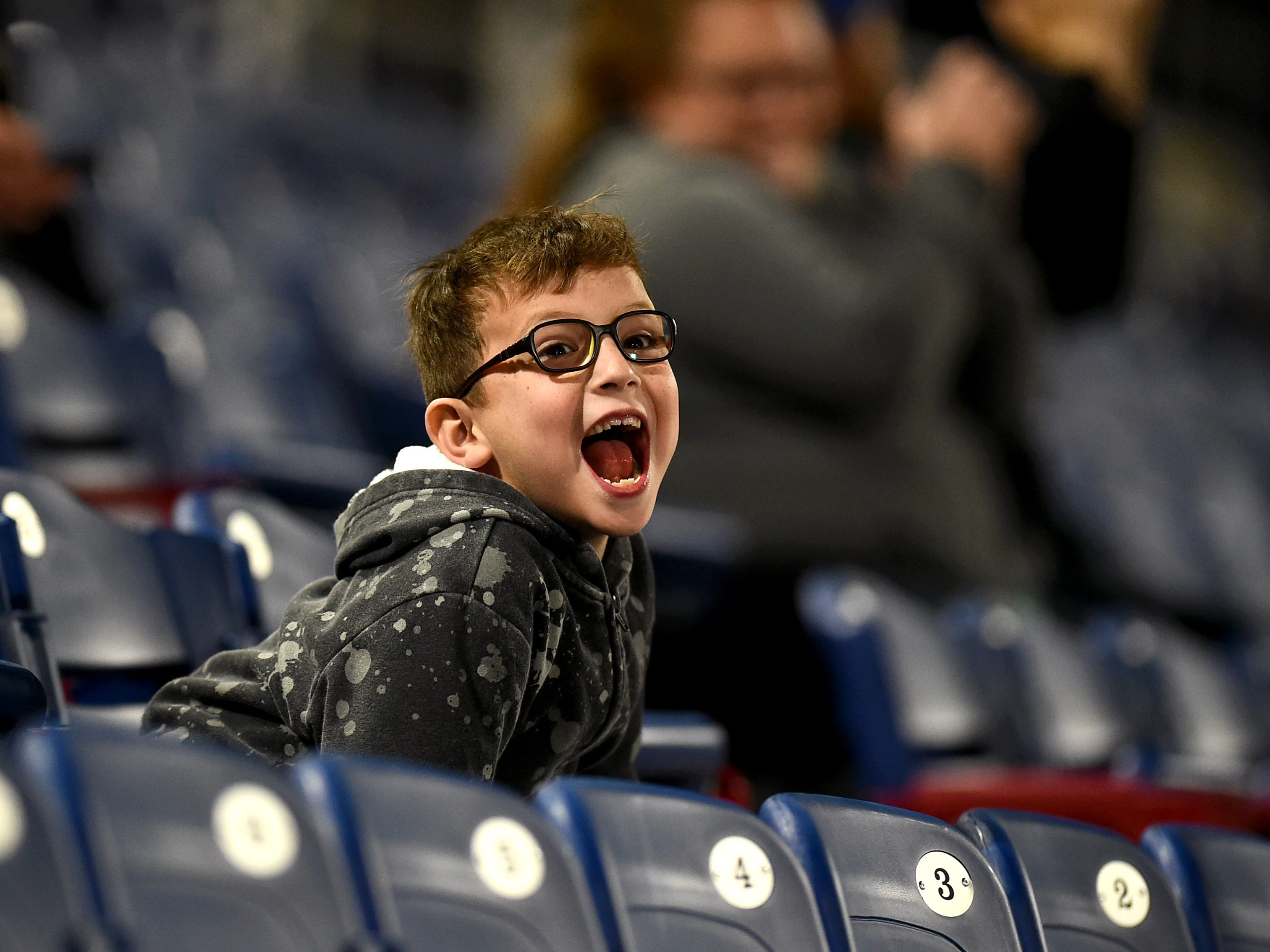 Sheldon O'Reilly, of Georgia, cheers as the Binghamton Rumble Ponies hosted the Akron RubberDucks at NYSEG Stadium, April 29, 2019.