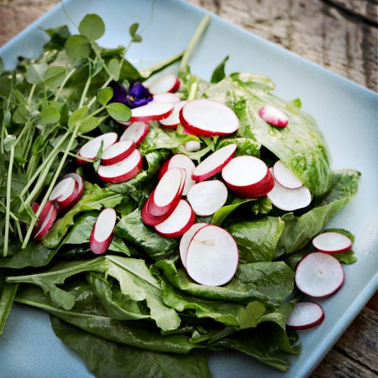 You can choose from a variety of spring greens and veggies to assemble this salad, which is topped with radishes.