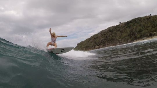 Daya McCart, 10, of Indialantic surfs in Puerto Rico. She and twin brother Beckham have been soaring on the anateur circuit with Daya winning the season points title in both ESA and NSSA in the 12s and 14s divisions.